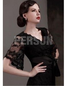 Gorgeous Lace Stretch Satin A-Line V-Neck Short-Sleeves Buckle Sashes Black Sexy V Neck Short Sleeves Sashes Lace Mother of the Bride Dress