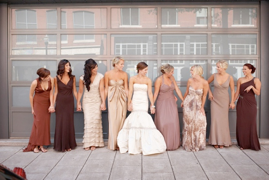 Brown Gray mismatch bridesmaid dresses
