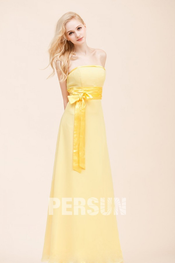 strapless long yellow bridesmaid dress