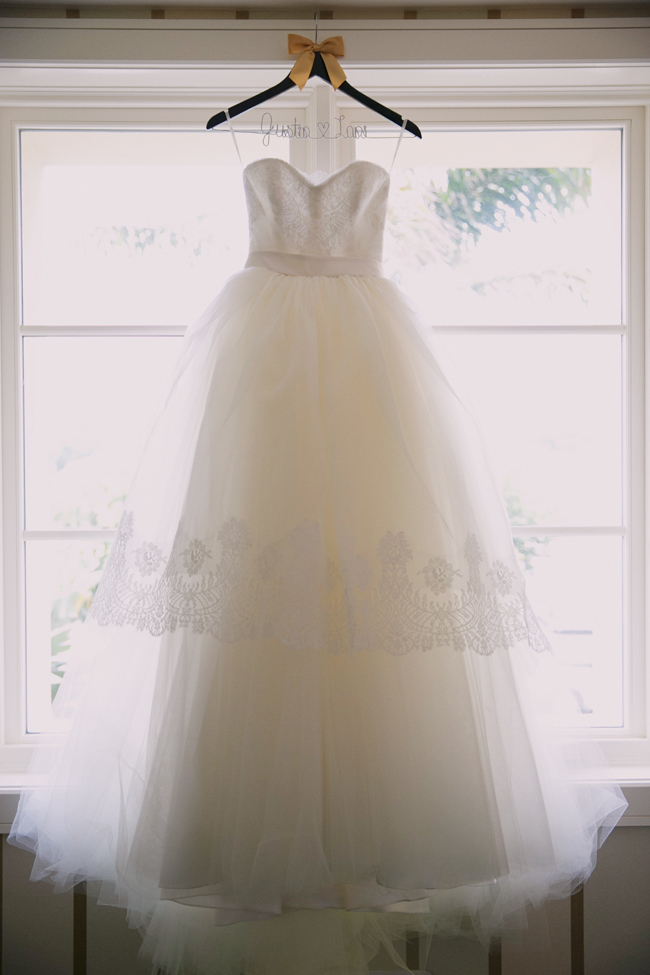 wedding dresses in wedding hanger