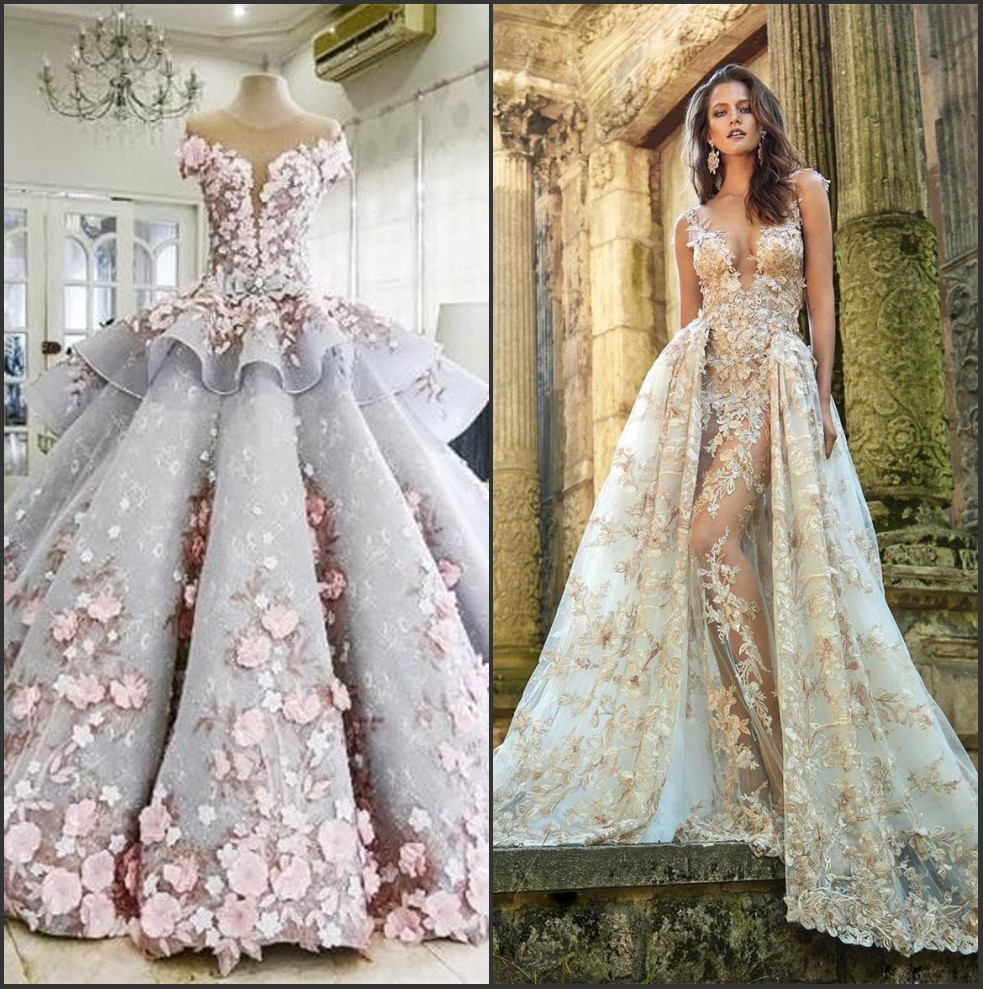 Lace applique flowers fashion sexy wedding dresses luxury bridal gown